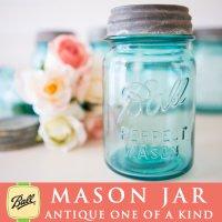 アンティーク メイソンジャー Ball Mason jar  ビンテージ Pint(パイント) Zinc蓋つき ブルー