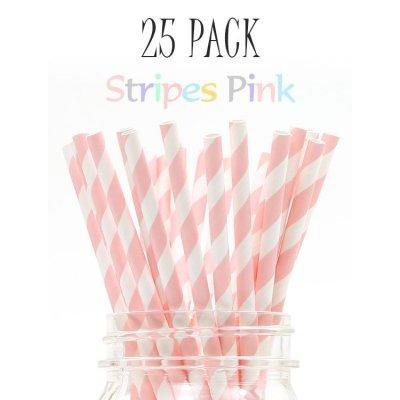 画像1: メイソンジャー Ball Mason jar タンブラー エコ 再生可能 紙ストロー25本入り サーキュラーエコノミー Stripes Pink