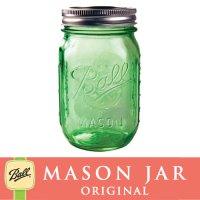 【★期間限定セール★】メイソンジャー 16oz レギュラーマウス Ball Mason jar オリジナル限定 グリーン