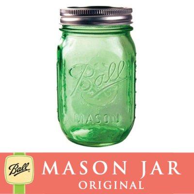 画像1: 【★期間限定セール★】メイソンジャー 16oz レギュラーマウス Ball Mason jar オリジナル限定 グリーン