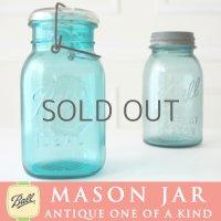 【希少】アンティーク メイソンジャー Ball Mason jar  ビンテージ Quart(クォート) ワイヤー型 Bicentennial Celebration ワシ彫刻 ブルー×ホワイト蓋ホワイト蓋