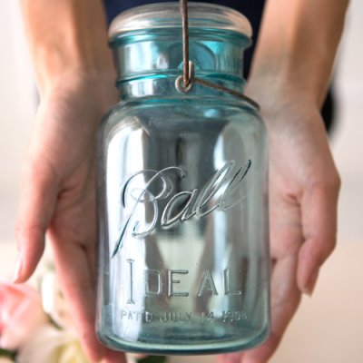 画像4: アンティーク メイソンジャー Ball Mason jar  ビンテージ Quart(クォート) ワイヤー型 ブルー×ホワイト蓋