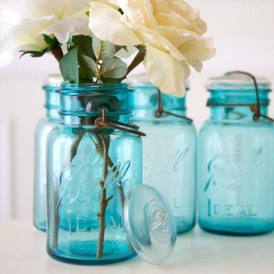 画像2: アンティーク メイソンジャー Ball Mason jar  ビンテージ Quart(クォート) ワイヤー型 ブルー×ホワイト蓋