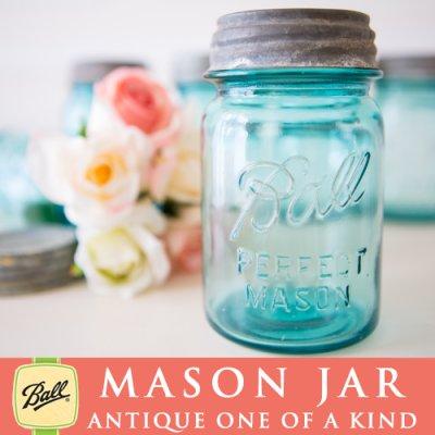画像1: アンティーク メイソンジャー Ball Mason jar  ビンテージ Pint(パイント) Zinc蓋つき ブルー