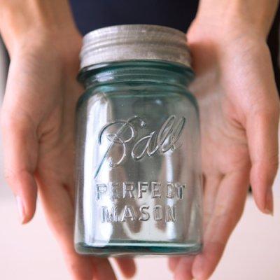 画像2: アンティーク メイソンジャー Ball Mason jar  ビンテージ Pint(パイント) Zinc蓋つき ブルー