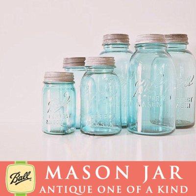 画像4: アンティーク メイソンジャー Ball Mason jar  ビンテージ Pint(パイント) Zinc蓋つき ブルー