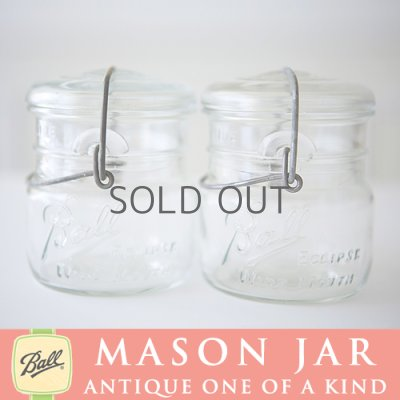 画像1: アンティーク メイソンジャー Ball Mason jar  ビンテージ ワイドマウス ワイヤー型 ホワイト