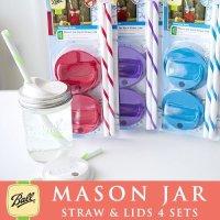 メイソンジャー Ball社 4個セット レギュラー、ワイドマウス用 ストロー用蓋 カラー フタ&ストロー Mason jar