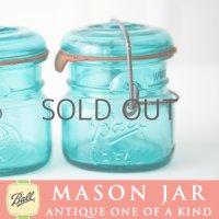 アンティーク メイソンジャー Ball Mason jar  ビンテージ ワイヤー型 ミニ ブルー 鷲の彫刻入り