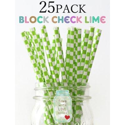 画像1: メイソンジャー Ball Mason jar タンブラー エコ 再生可能 紙ストロー25本入り サーキュラーエコノミー Block Check Lime