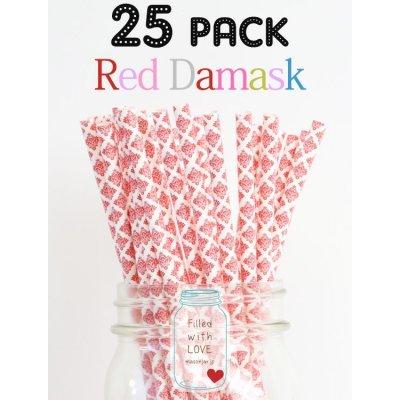 画像1: メイソンジャー Ball Mason jar タンブラー エコ 再生可能 紙ストロー25本入り サーキュラーエコノミー Red Damask