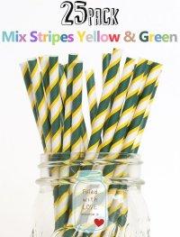 メイソンジャー Ball Mason jar タンブラー エコ 再生可能 紙ストロー25本入り サーキュラーエコノミー Mix Straipes Yellow & Green