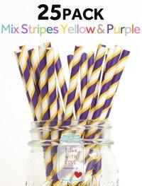 メイソンジャー Ball Mason jar タンブラー エコ 再生可能 紙ストロー25本入り サーキュラーエコノミー Mix Straipes Yellow & Purple