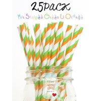 メイソンジャー Ball Mason jar タンブラー ストロー25本入り Mix Straipes Green & Orange