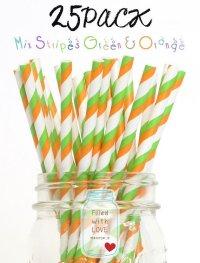 メイソンジャー Ball Mason jar タンブラー エコ 再生可能 紙ストロー25本入り サーキュラーエコノミー Mix Straipes Green & Orange