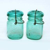 【希少】アンティーク メイソンジャー Ball Mason jar  ビンテージ スモール ワイヤー型 ブルー