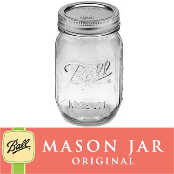 画像1: 【SALE】メイソンジャー 16oz レギュラーマウス  Ball Mason jar オリジナル クリア (1)