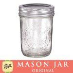 画像: 【SALE】メイソンジャー 8oz レギュラーマウス  Ball Mason jar オリジナル クリア ハーフパイント