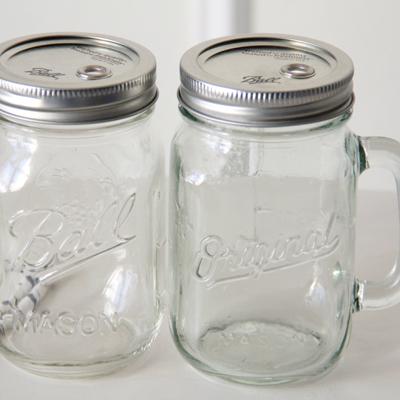 画像: メイソンジャー Mason jar ストロー用タンブラー クリア ビールマグ 蓋あり